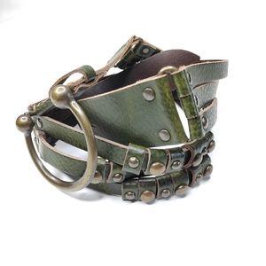 Antoniazza Firenze Olive Green Leather Belt Size L